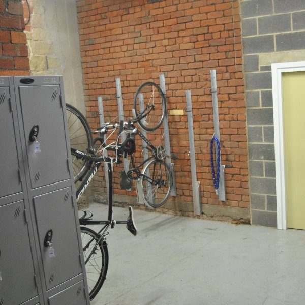 Indoor bike station and lockers