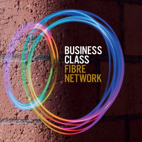 Business Class Fibre Network logo on red stone wall