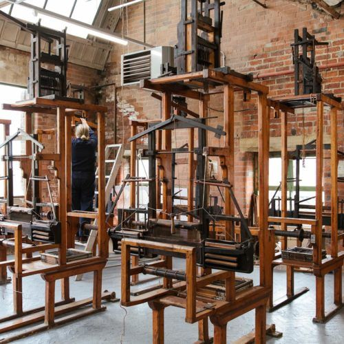 Weaving equipment and space at Sunny Bank Mills
