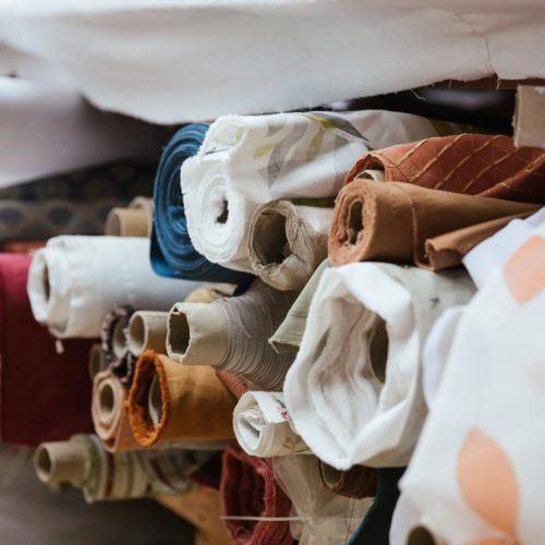 Rolls of fabrics