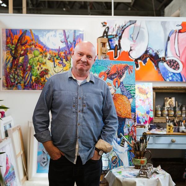 Mel Davies with art display